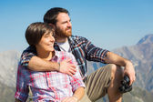 Young Couple at Top of Mountain — Stock Photo