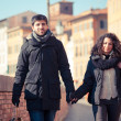 Young Couple Walking in the City with Shopping Bags - Stock Photo