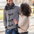 Happy Young Couple Outside, Valentine's Day — Stock Photo