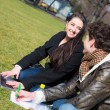 Young Couple with Computer at Park in Wien — Stock Photo