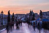 On Charles Bridge in Prague, Long Exposure — Stock Photo