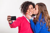 Two Beautiful Women Taking Self Portrait with Mobile Phone — Stock Photo