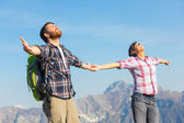 Young Couple at Top of the Mountain — Stock Photo
