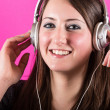 Happy Woman Listening Music with Headphones — Stock Photo
