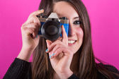 Young Woman With Toy Camera — Stock Photo