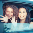 Stock Photo: Two Happy Women in the Car
