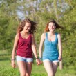 Two Beautiful Teenage Girls Walking at Park — Stock Photo #25958323