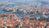 Panoramic view of Prague, Charles Bridge and Vltava — Stock Photo