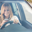 Young woman sending messages while driving — Stock Photo #26064003