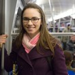 Young businesswoman in the metro — Stock Photo