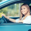 Young woman driving — Stok fotoğraf