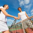 Tennis players giving handshake — Stock Photo