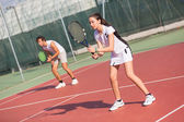 Tennis players during a match — Stock Photo