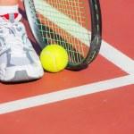 Tennis racket and ball — Stock Photo