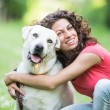 Young Woman with Dog — Stock Photo