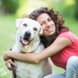 Young Woman with Dog — Stock Photo #26706019