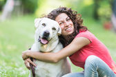 Young Woman with Dog — Stok fotoğraf