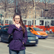 Young Business Woman next to Urban Road — Stock Photo