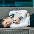 Businesswoman Sleeping with Computer after Work — Stock Photo