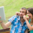 Happy Young Couple Taking Self Portrait — Stock Photo