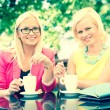 Two Beautiful Women Drinking Coffee at Bar — Stock Photo #27693829
