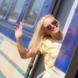 Woman Leaving for Vacation with Train — Stock Photo