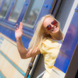 Woman Leaving for Vacation with Train — Stockfoto