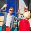 Couple Leaving for Vacation with Train — Stock Photo