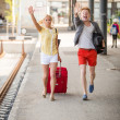 Young Couple Late at Train Station — Stock Photo