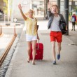 Young Couple Late at Train Station — Stock Photo #27796749