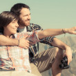 Young Couple at Top of Mountain — Stock Photo #28026697