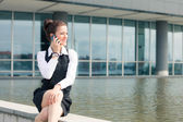 Young Businesswoman Talking on Mobile Phone — Stok fotoğraf
