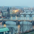 Prague at Twilight, view of Bridges on Vltava — Стоковая фотография