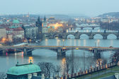 Prague at Twilight, view of Bridges on Vltava — Stock Photo