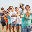 Multiethnic Group of Friends at Beach — Stock Photo
