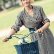 Young Woman with Bicycle at Park in Vilnius — Stock Photo