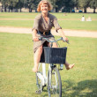 Young Woman with Bicycle at Park in Vilnius — Stock fotografie