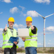 Technician Engineers Thumbs Up with Wind Power Generator — Photo