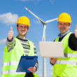 Technician Engineers Thumbs Up with Wind Power Generator — Stock Photo #29939623