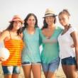 Multiethnic Group of Girls at Beach — Stock Photo