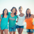 Multiethnic Group of Girls at Beach — Stock Photo