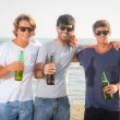 Group of Boys Cheering at Beach — Stock Photo