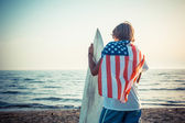American Boy with Surf Board — Stock Photo