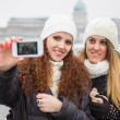 Two Women in Budapest on Winter — Stock Photo