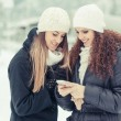 Stock Photo: Two Women Sending Message