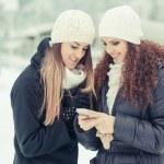 Two Women Sending a Message — Stock Photo
