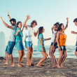 Group of Friends Having a Party on the Beach — Foto Stock