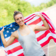 Beautiful Young Woman with USA Flag — Stock Photo