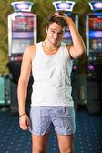 Sad Gambler After Losing Everything at Casino — Stock Photo