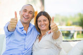 Mature Couple Showing Thumbs Up — Stock Photo